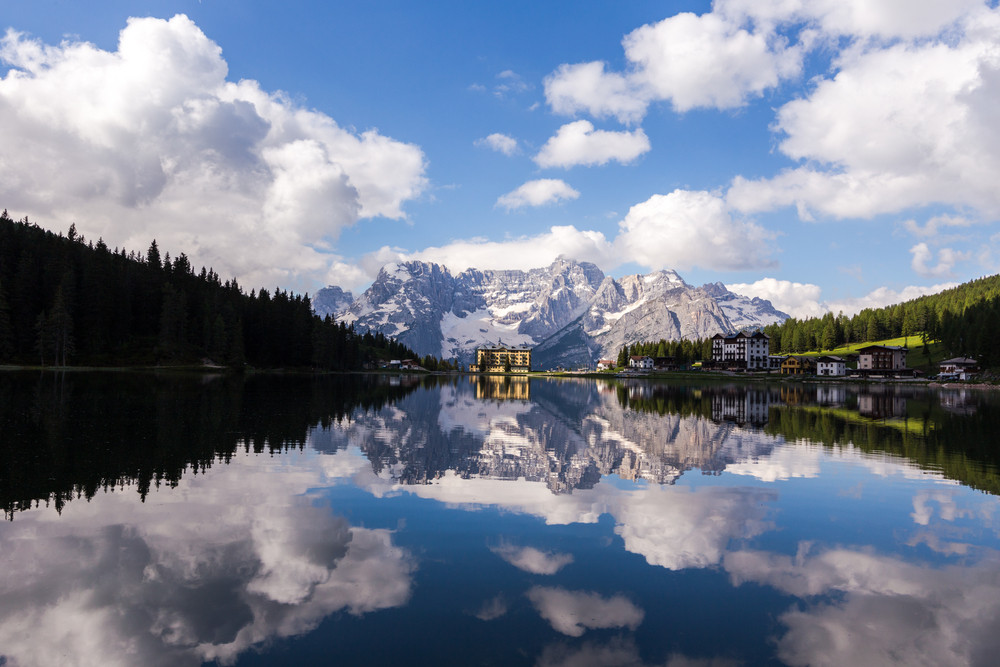 MISURINA, ITALY - JUNE 17: Misurina lake in Veneto province, Italy on June 17, 2014. Misurina is a lake in Dolomites mountain range in northern Italy.