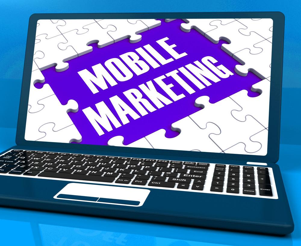 Mobile Marketing On Laptop Shows Online Marketing