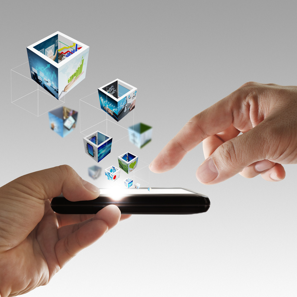 Mobile Phone In Hand Streaming 3d Images
