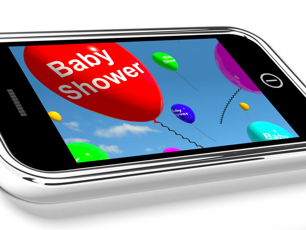 Mobile Phone Message Shows Baby Shower Celebration