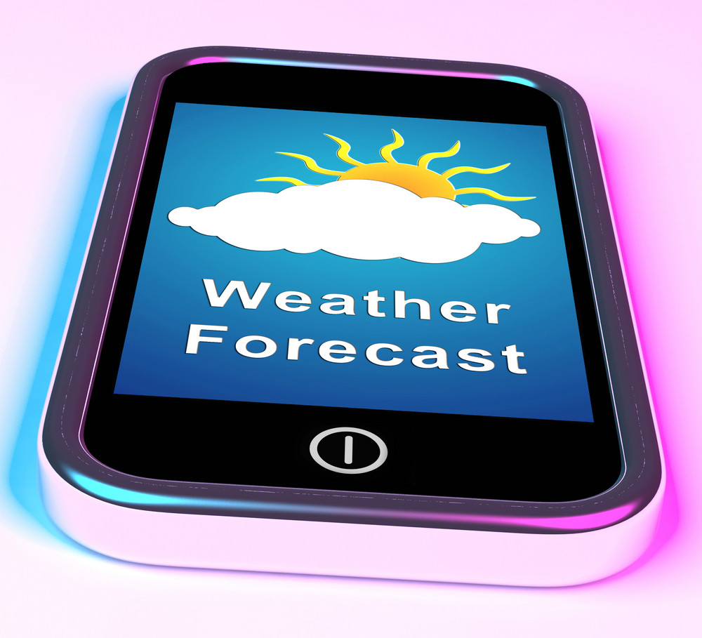 Mobile Phone Shows Cloudy Sun Weather Forecast