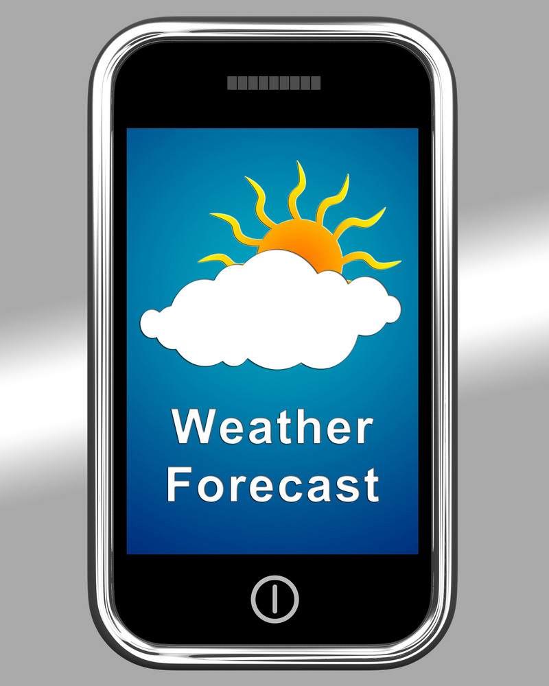 Mobile Phone Shows Cloudy Weather Forecast