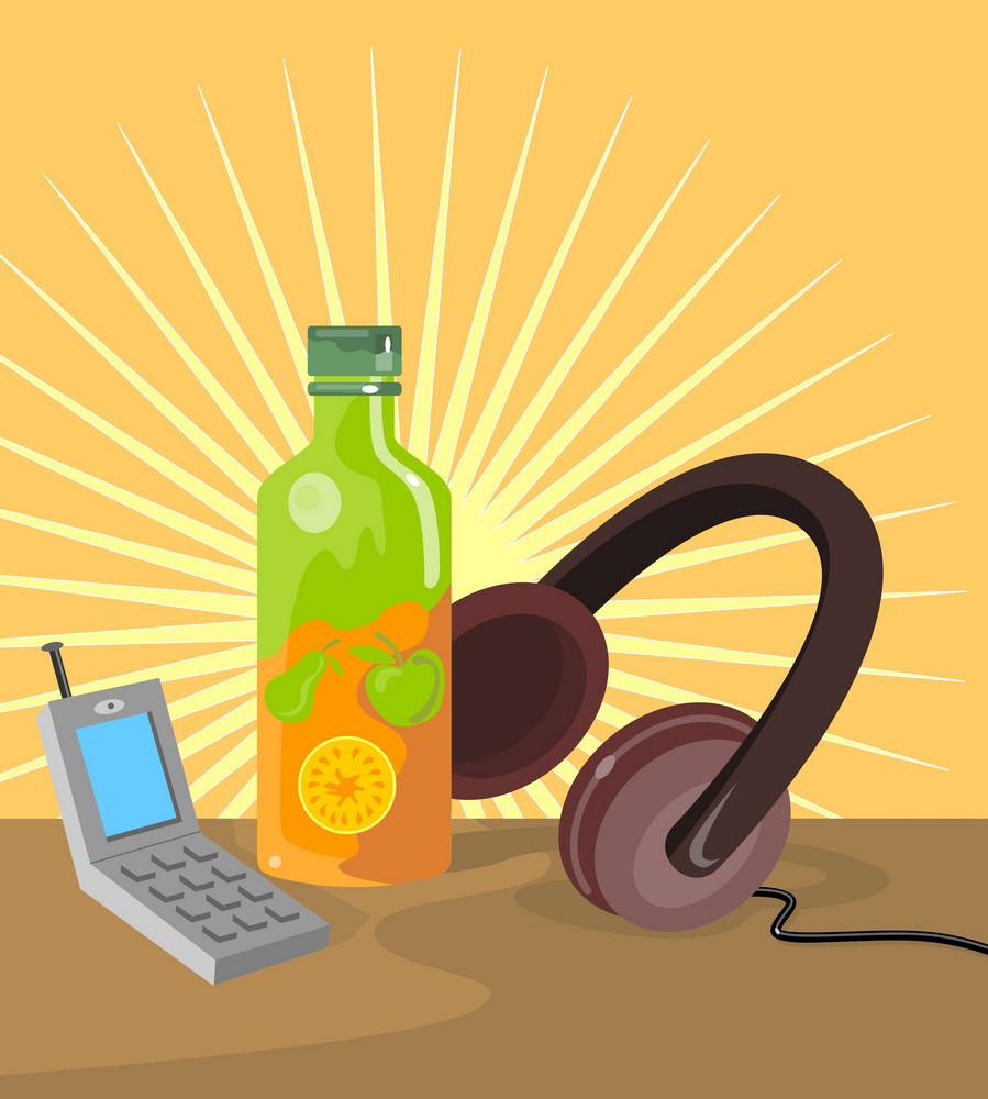 Mobile Phone Soda Drink Headphone Retro