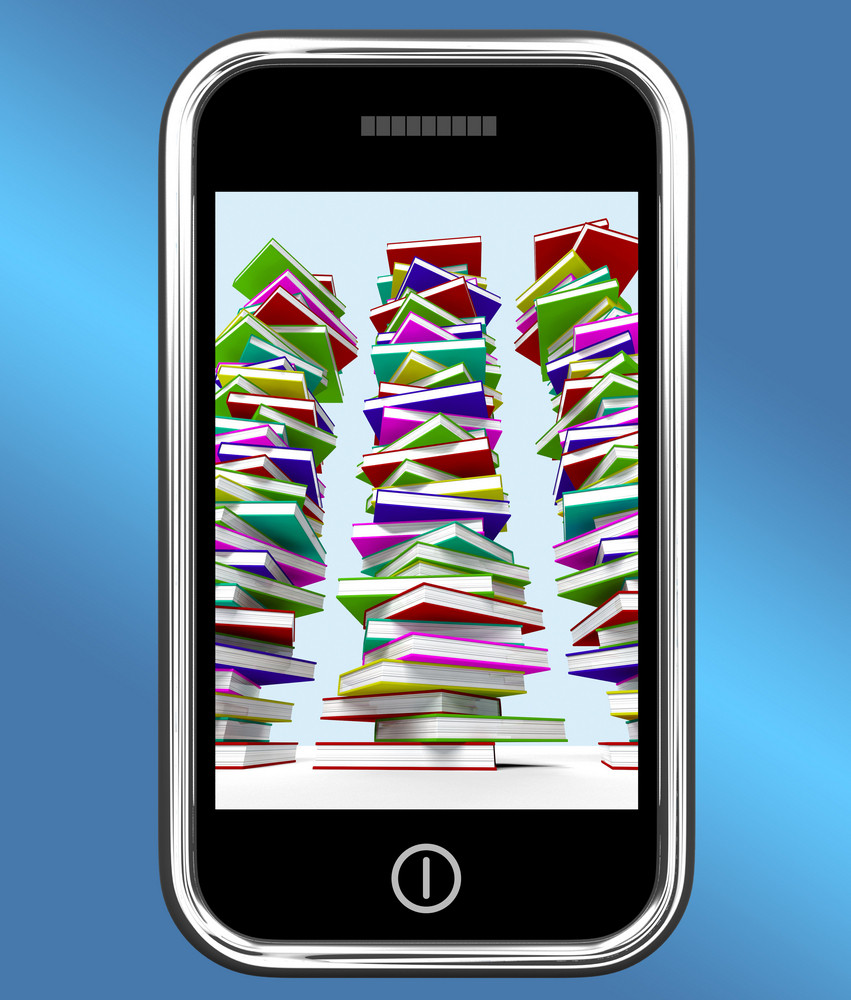 Mobile Phone With Stacks Of Books Shows Online Knowledge
