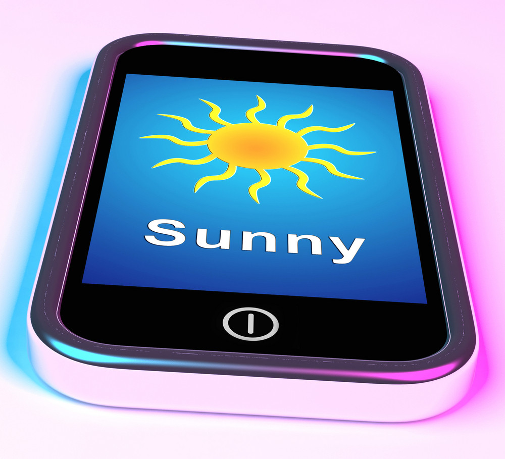 Mobile Smartphone Shows Sunny Weather Forecast