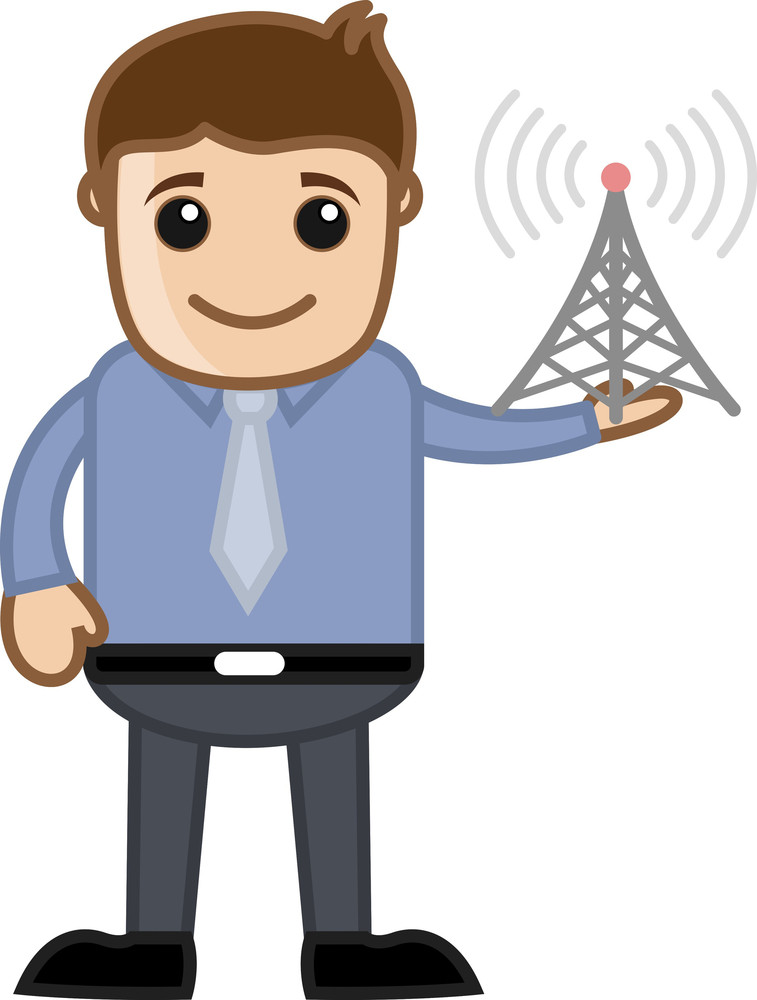 Mobile Tower - Business Cartoon Character Vector