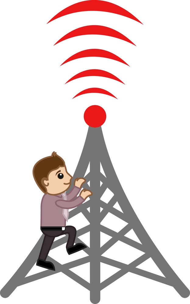 Mobile Tower - Repair - Concept - Vector Illustration