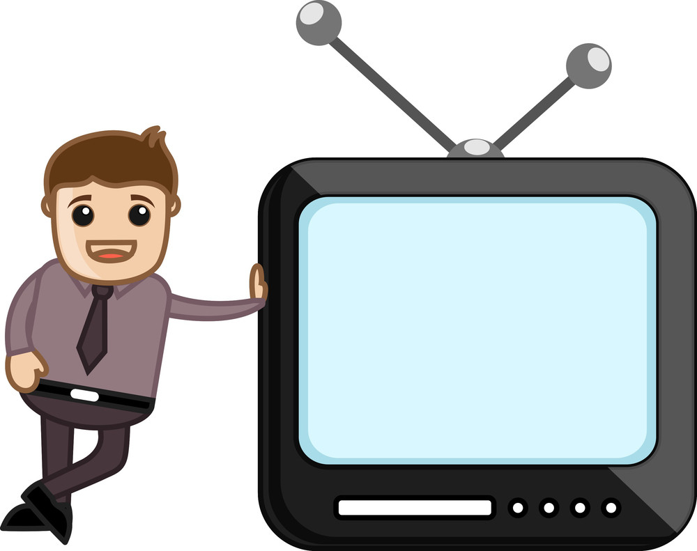 Mobile Tv - Office Character - Vector Illustration