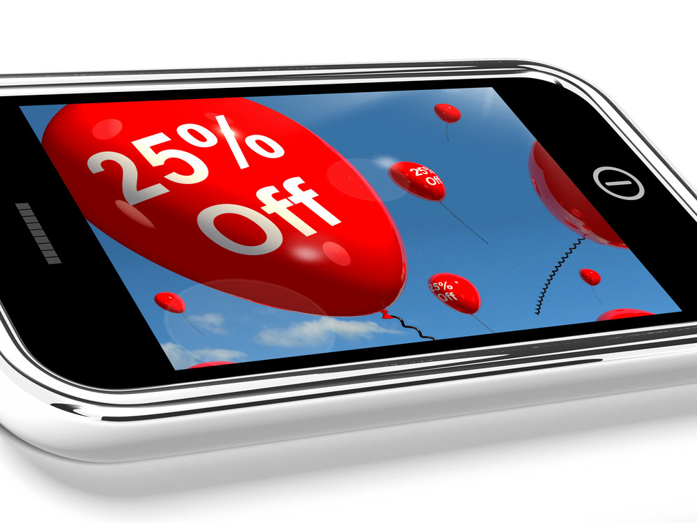 Mobile With 25% Off Sale Promotion Balloons