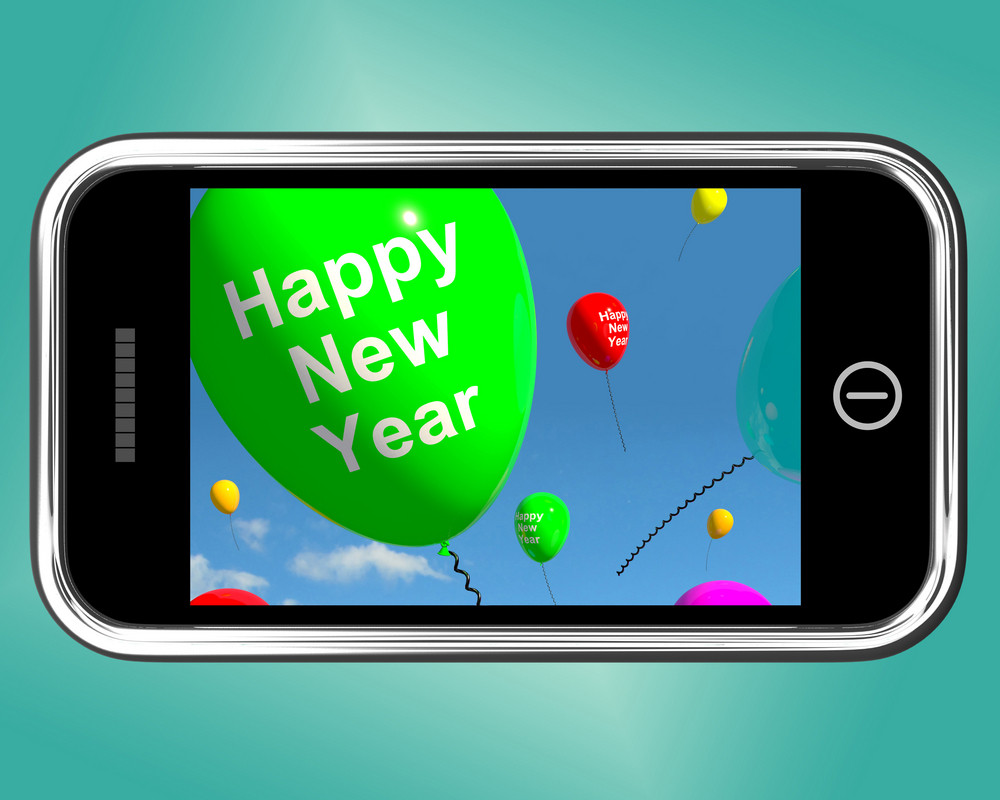Mobile With Happy New Year Message