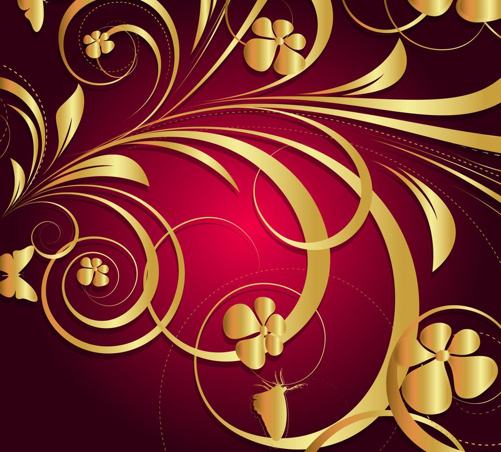Moder Golden Floral Background
