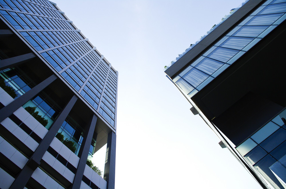 Modern building exterior detail with sky