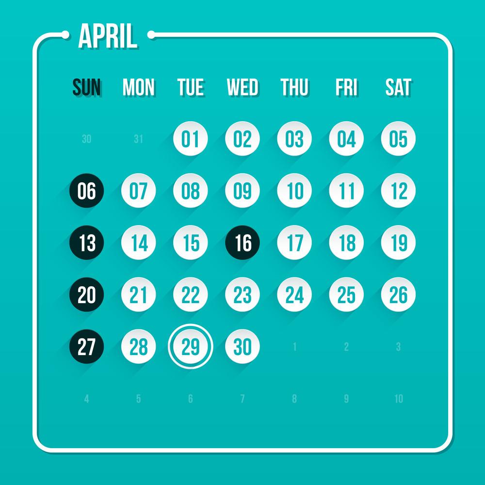 Modern Calendar Template. April 2014. Eps 10.