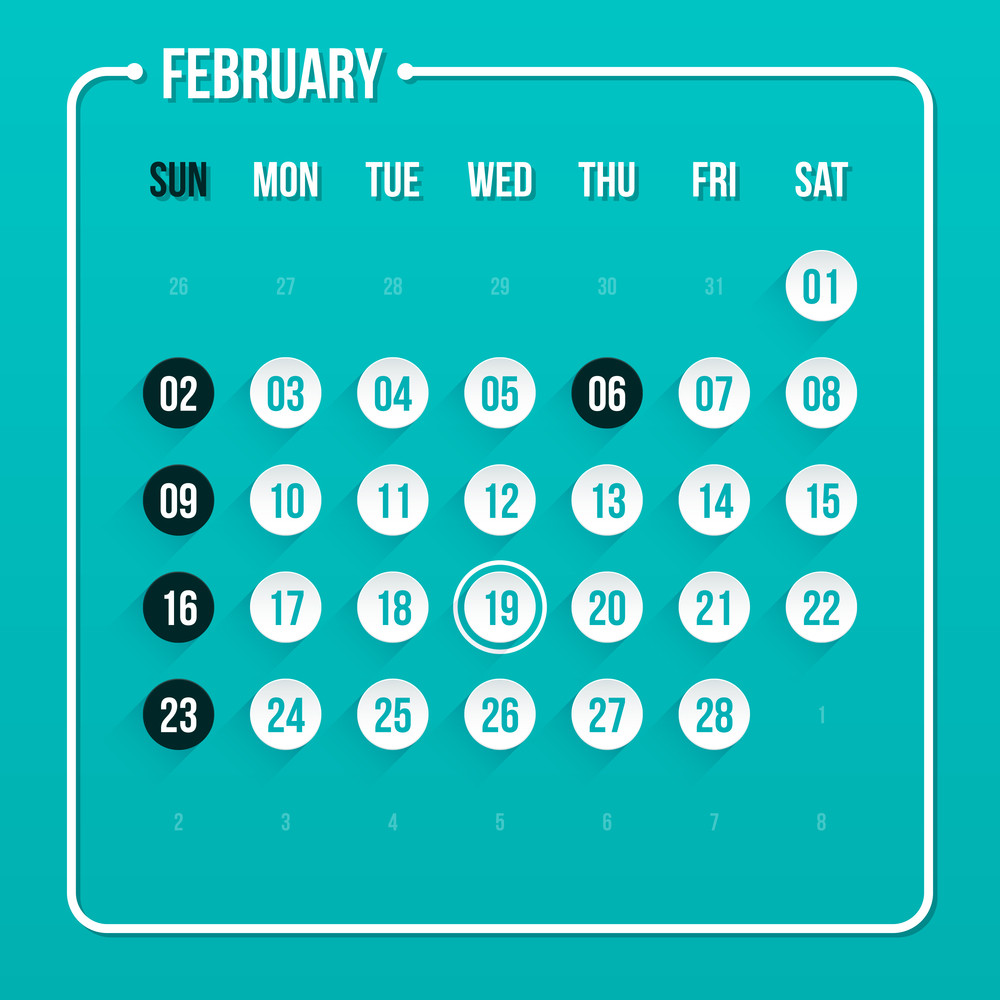 Modern Calendar Template. February 2014. Eps 10.