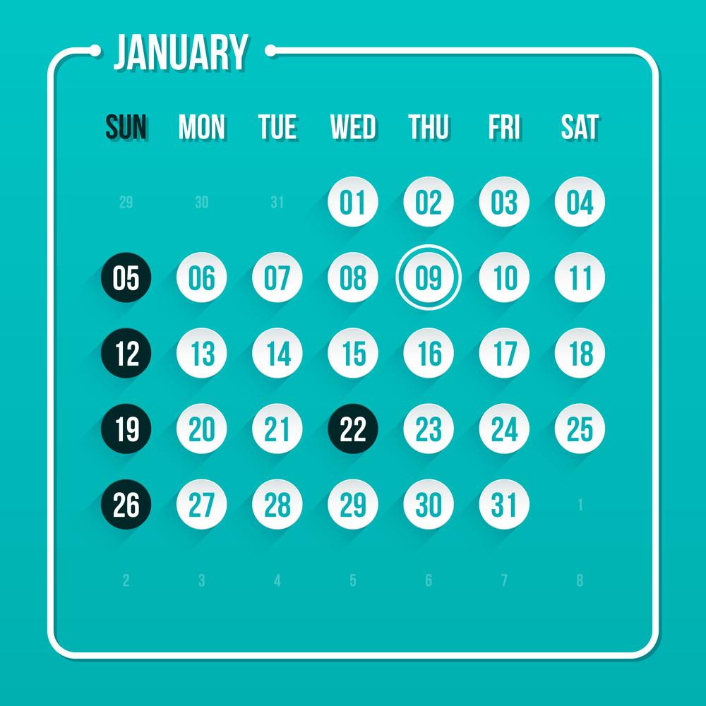 Modern Calendar Template. January 2014. Eps 10.