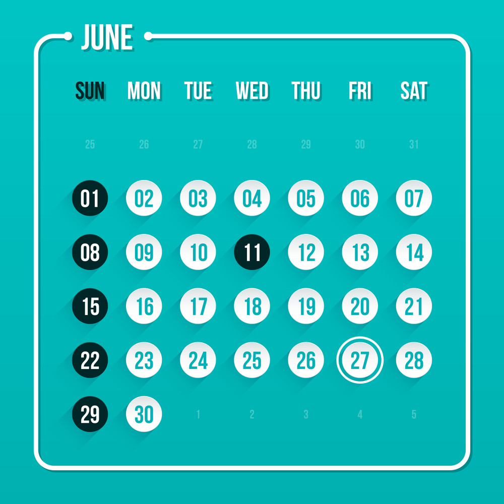 Modern Calendar Template. June 2014. Eps 10.