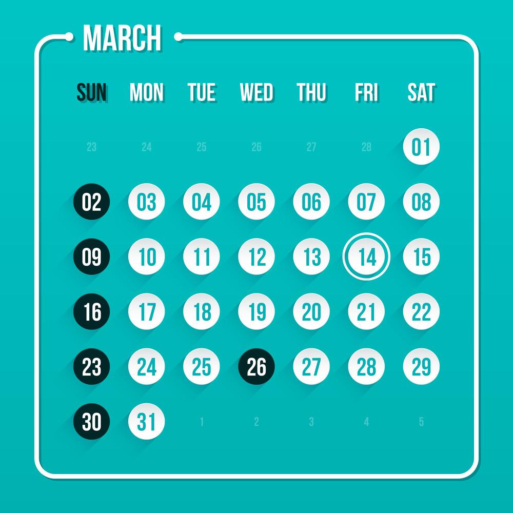 Modern Calendar Template. March 2014. Eps 10.