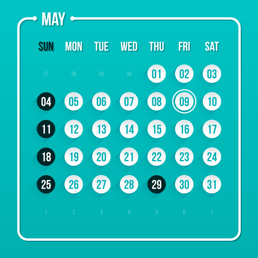 Modern Calendar Template. May 2014. Eps 10.