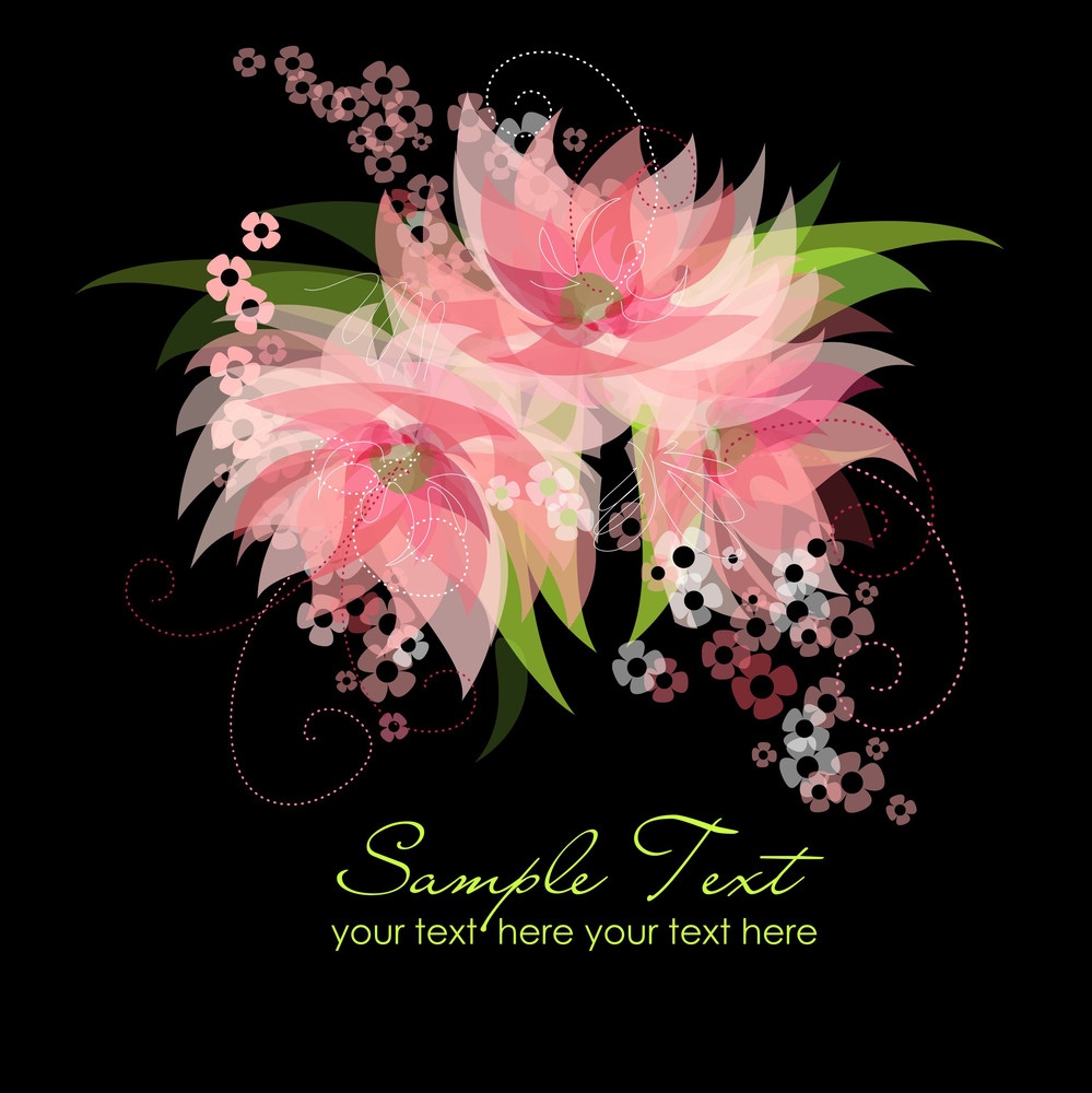Modern Card Pink Flowers On Black Background Royalty Free Stock