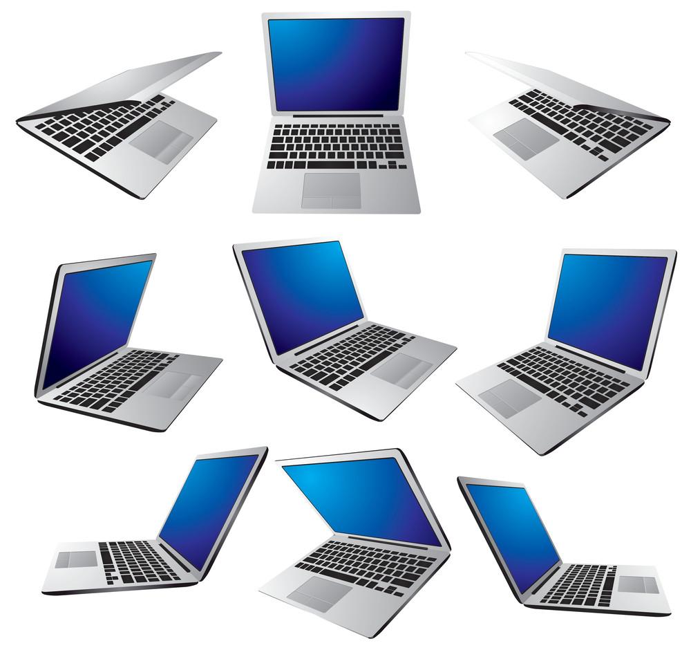 Modern Laptop. Vector.