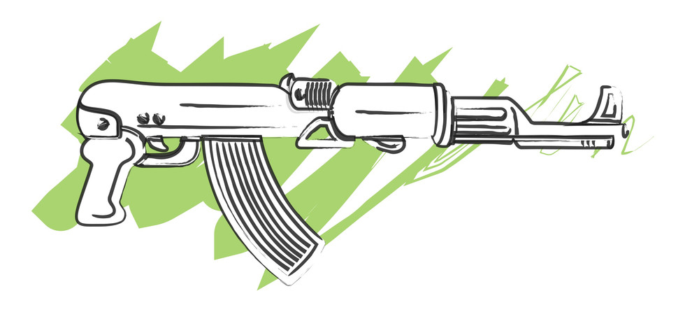 Modern Machine Gun Drawing