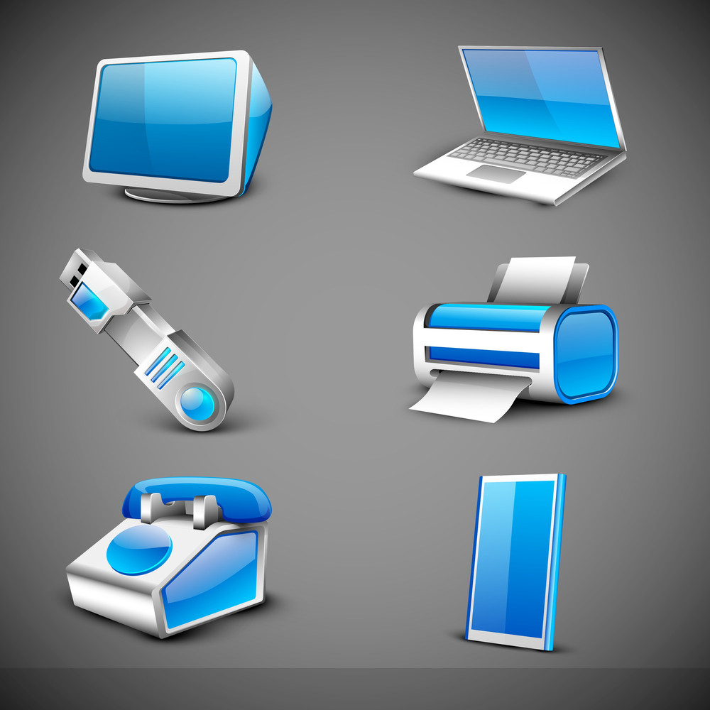 Modern Office Electronic Icons Set On Grey Background