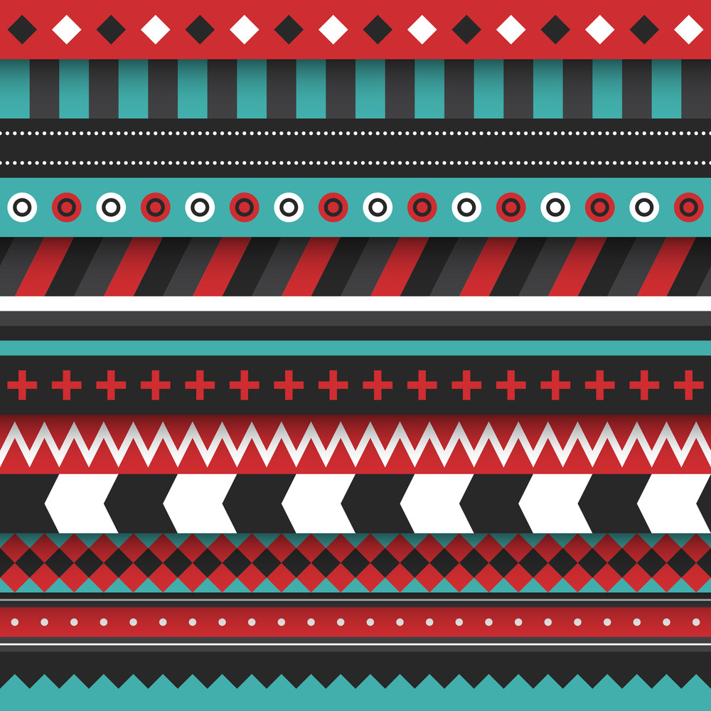 Modern Seamless Ornament With Lines And Tribal Shapes
