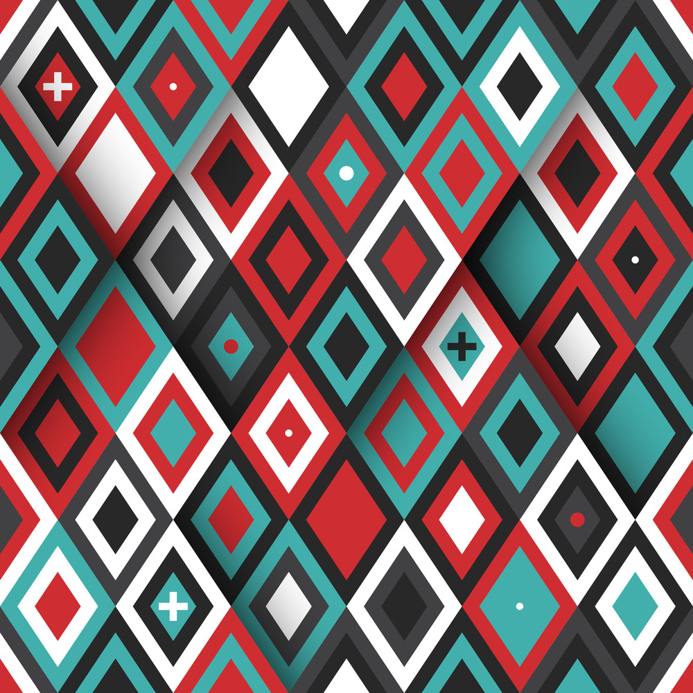 Modern Seamless Pattern With Colorful Diamonds