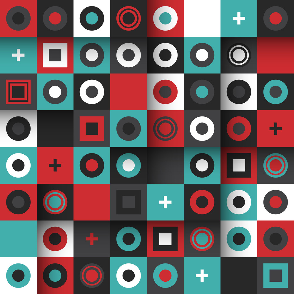 Modern Seamless Pattern With Colorful Squares And Circles