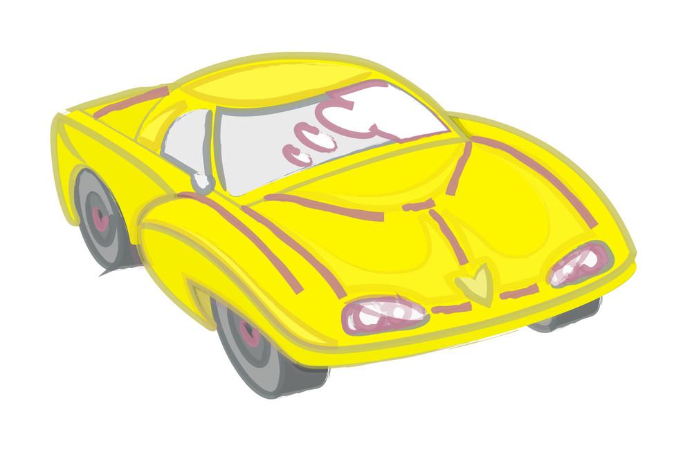 Modern Sports Car Drawing Vector Art
