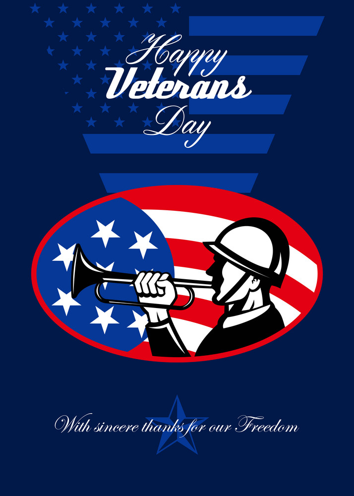 Modern Veterans Day American Soldier Greeting Card