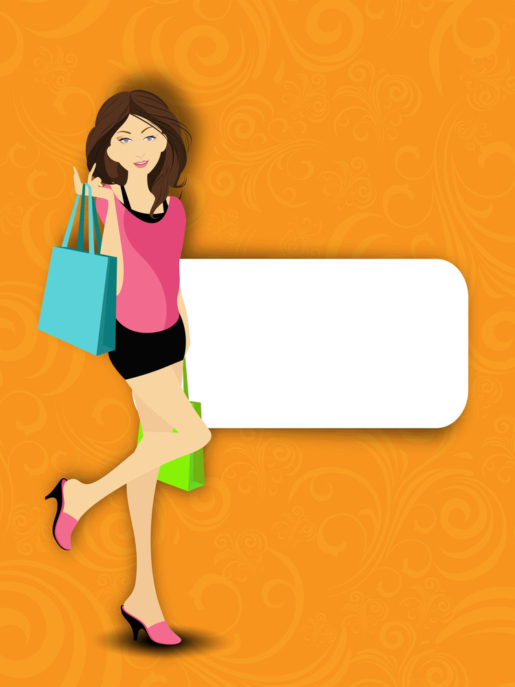 Modern Young Girl With Shopping Bags And Space