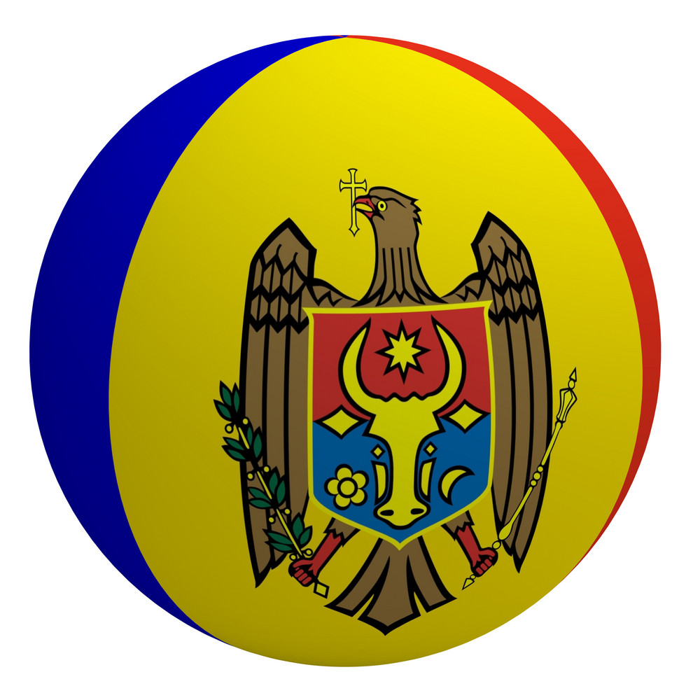 Moldova Flag On The Ball Isolated On White.