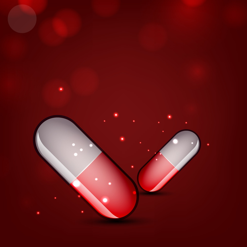 Molecule Medical Background With Capsules.