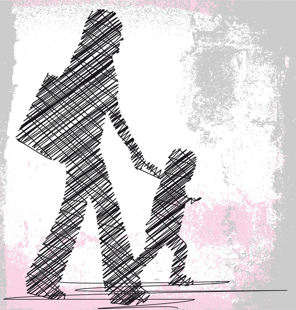 Mom And Daughter. Vector Illustration