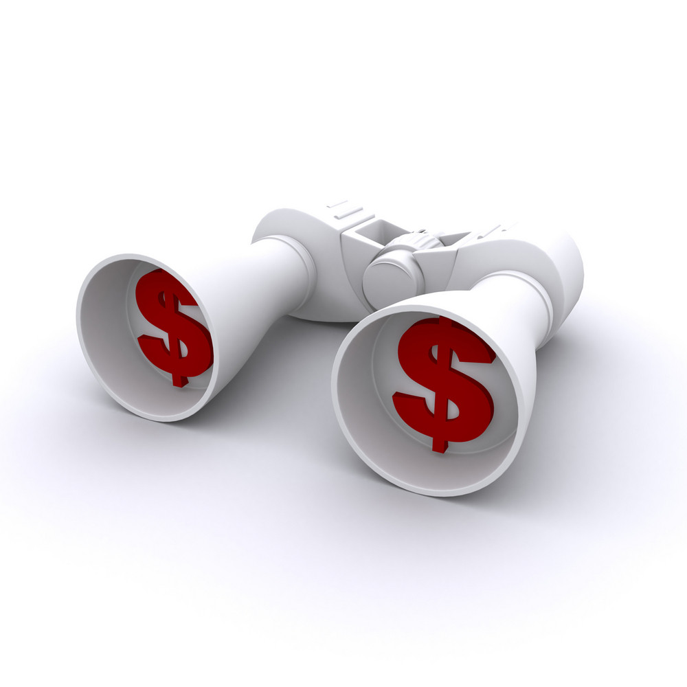 Money Dollar In Binocular