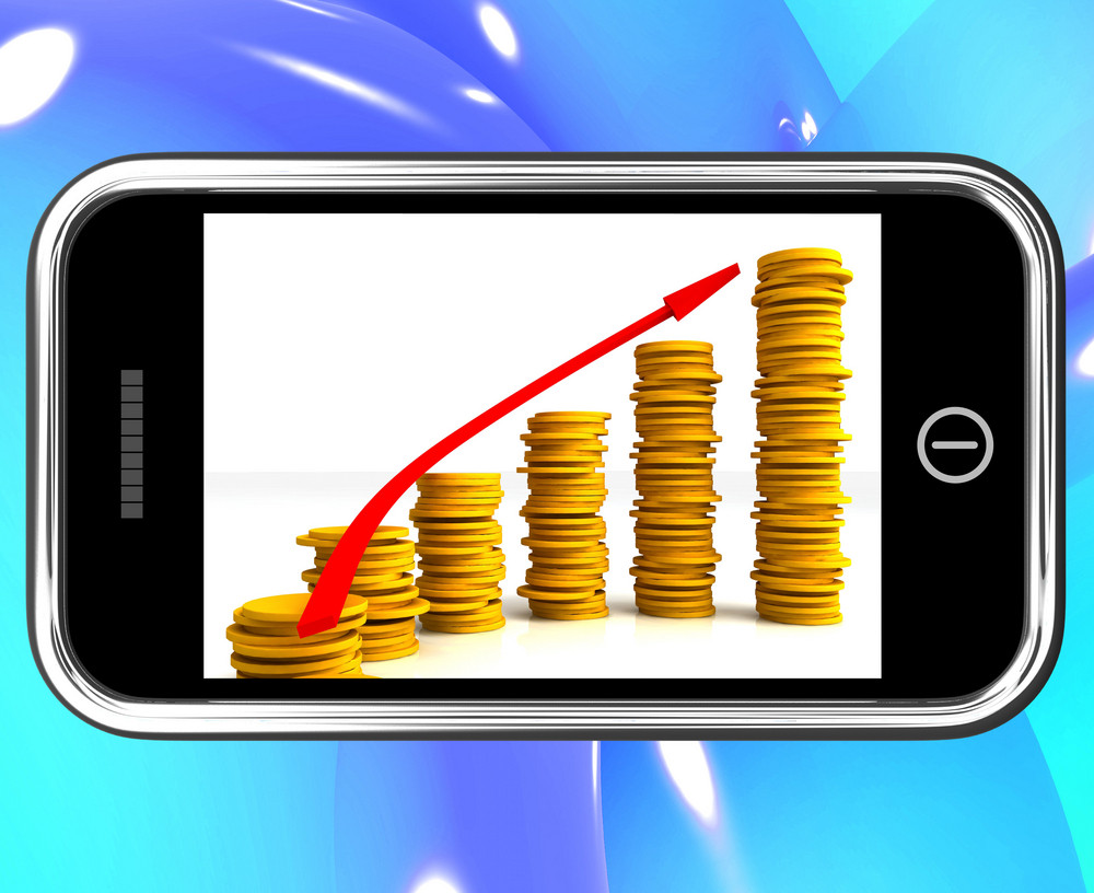 Money Increasing On Smartphone Showing Big Earnings