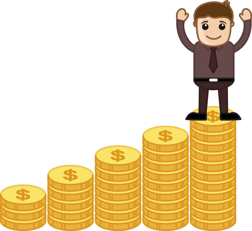 Money Maker Concept - Vector Character Cartoon Illustration