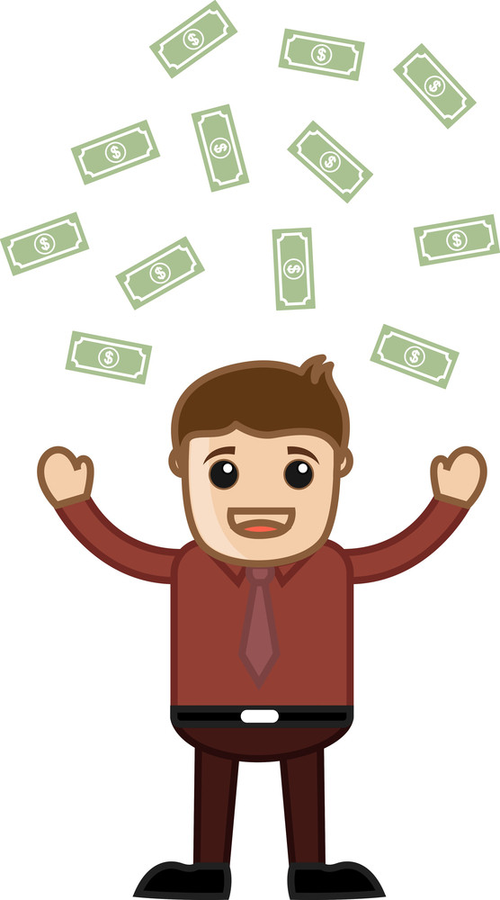 Money Rain - Business Cartoon Character Vector