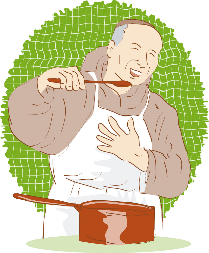 Monk Chef Cook Tasting Food