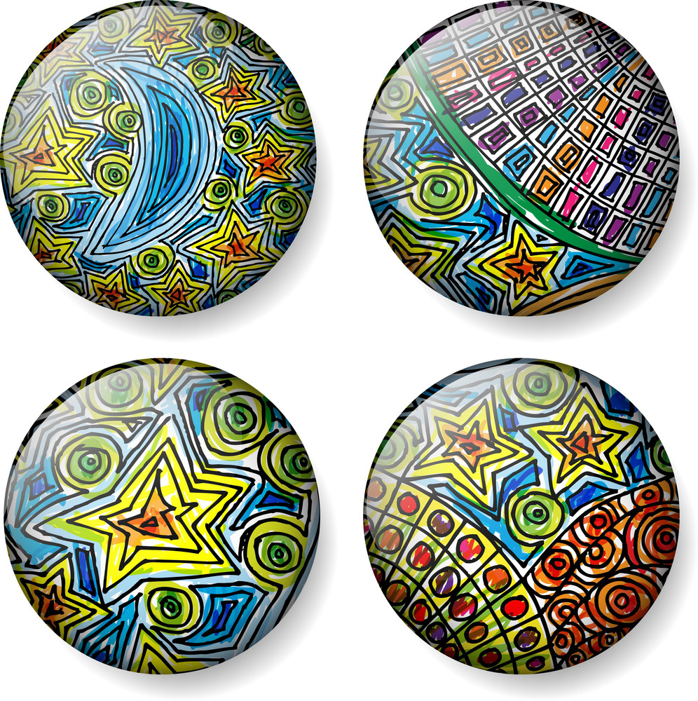 Moon And Stars Sketch Round Vector Buttons