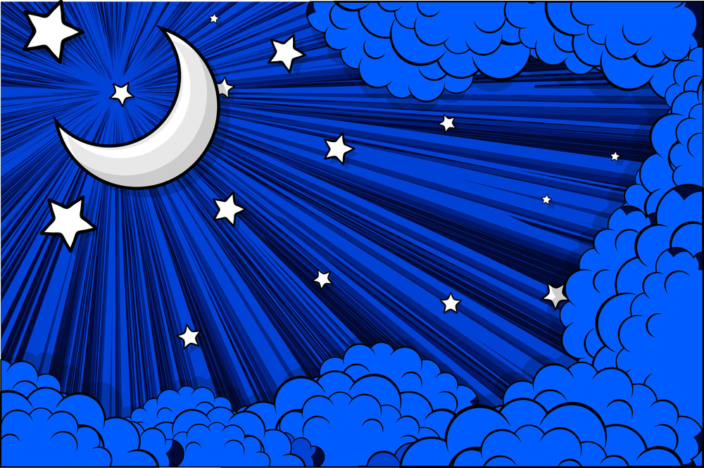 Moon Stars Retro Clouds Background