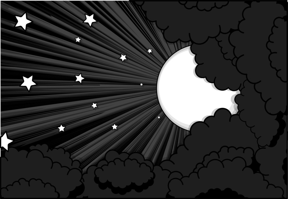 Moonlight Stars Clouds Background