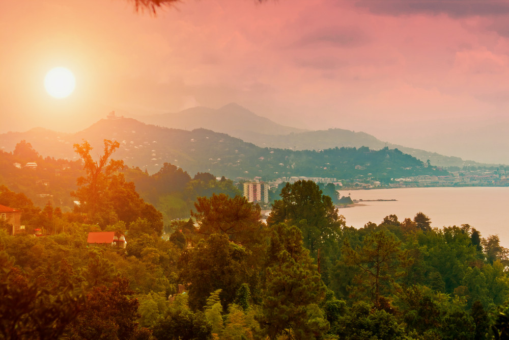 Morning panoramic view of Batumi city