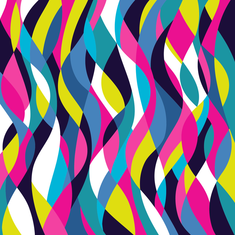 Mosaic Abstract Wave Background. Colorful Abstract Hand-drawn Pattern