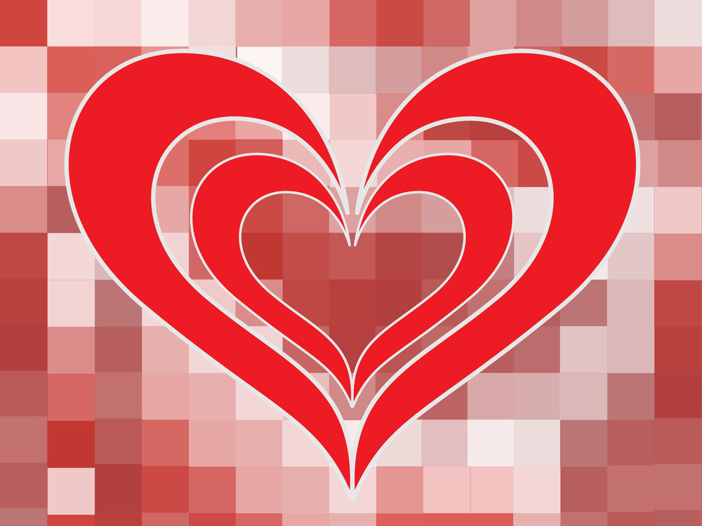 Mosaic Background With Romantic Heart