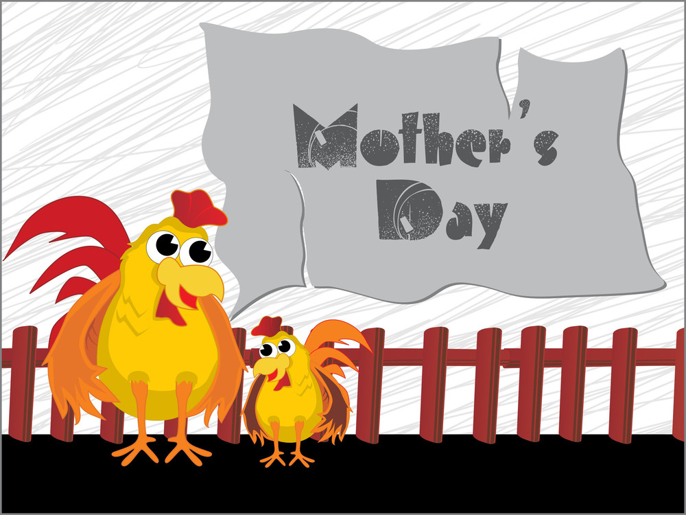 Mother Day Background With Hen And Kid