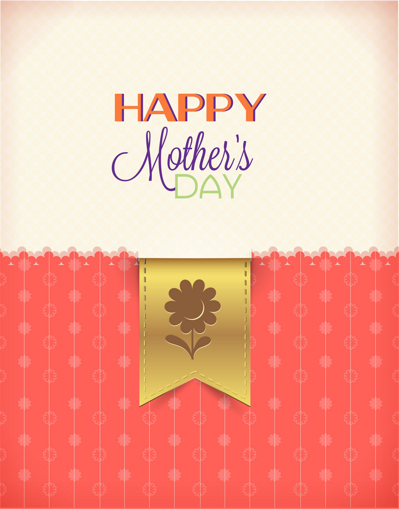 Mother's Day Vector Illustration With  Bookmark And Doodle Flowers