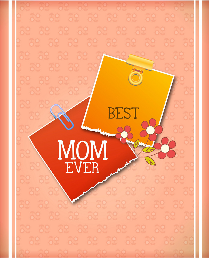 Mother's Day Vector Illustration With Doodle Flowers And Stickers