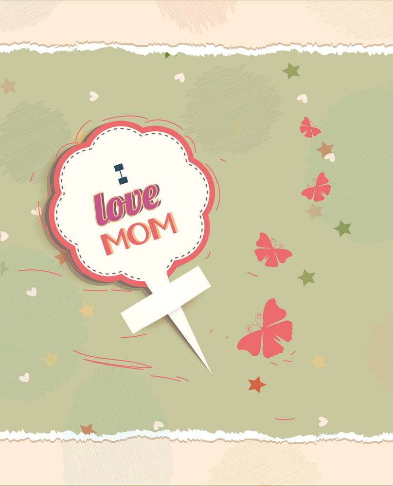 Mother's Day Vector Illustration With Flower Sticker